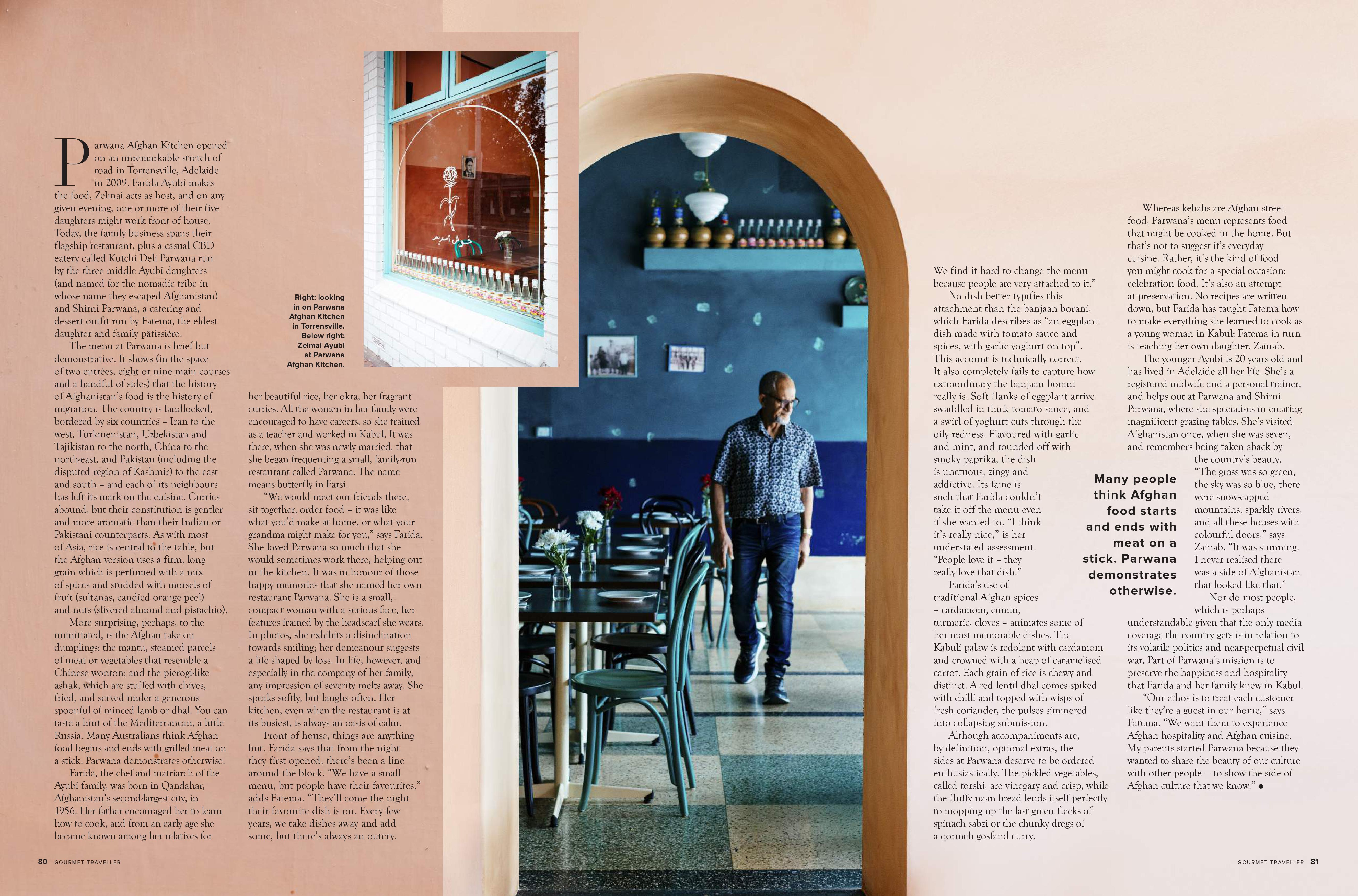 Australian Gourmet Traveller Parwana Afghan Kitchen Adelaide