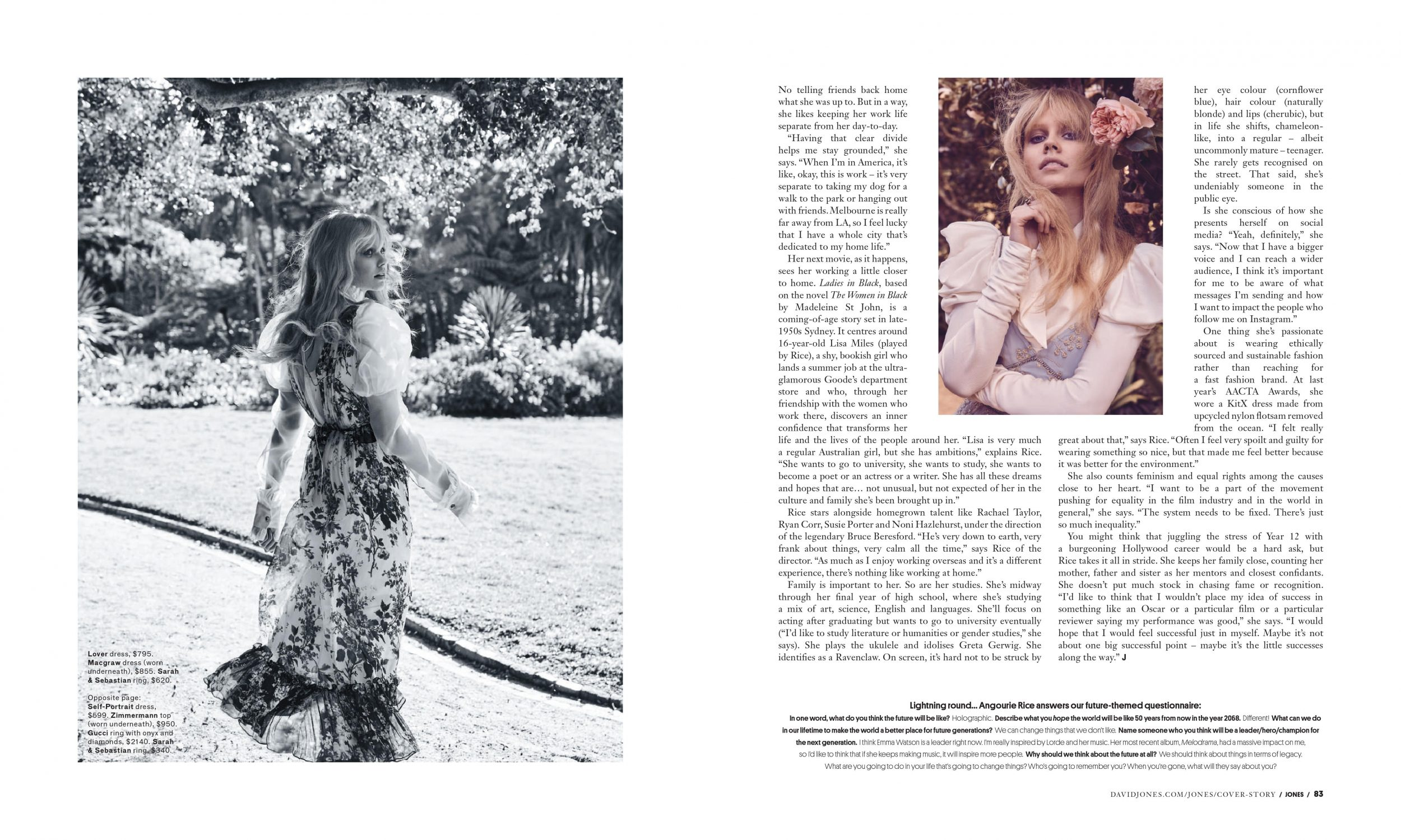 JONES magazine — Angourie Rice 2018 interview by Nadia Bailey